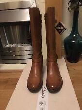 Clarks Ladies Tan Leather Long Boots Size 4 Gore-Tex Waterproof Brown Mara Vale