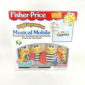 VTG Fisher-Price Bright Expressions Baby Crib Musical Mobile Bug Bee Butterfly