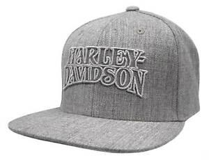 Harley-Davidson Men's Ironhead Snapback Flat Brim Baseball Cap - Heather Gray