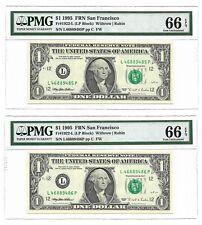 1995 $1 SAN FRANCISCO FRNs, 2 CONSECUTIVE PMG GEM UNCIRCULATED 66 EPQ BANKNOTES