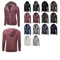 FashionOutfit Men's Basic Solid Lightweight Long Sleeves Hoodie Zipper Jackets