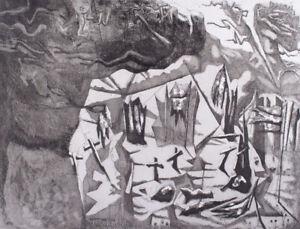 Keith LOOBY Eureka Landscape - original signed print art, etching, black + white