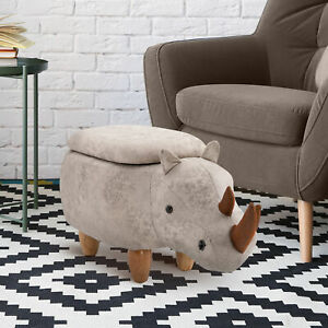 HOMCOM Rhino Storage Stool Cute Kids Decoration Footrest Ottoman Legs Grey