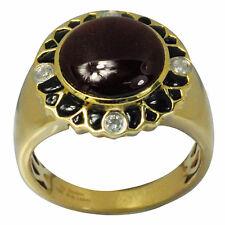 De Buman 7.10ctw Genuine Garnet & Diamond Solid 10KY Gold Men's Ring Size 10.25