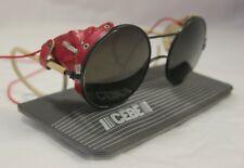 Vintage Round Cebe Sunglasses 1980s Look Red Side Visors Coil Arm Glacier Damage