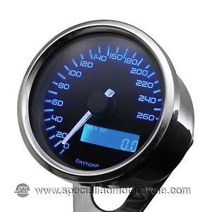 Contachilometri Elettronico Daytona Silver Luce Blu 260Km/h Cafè Racer