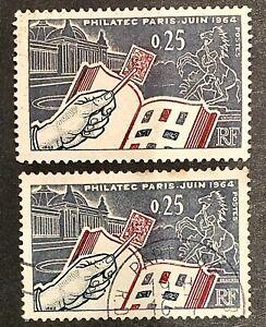 "France 1963 SG1629 Mint&Used Pair ""Philatelic '64"" Int. Stamp Exhibition, Paris"