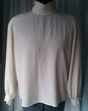 Vintage Long Sleeved Cream Blouse with Rouched Neck