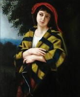 ZWPT1033 A girl portrait in a red scarf oil painting handmade art on Canvas