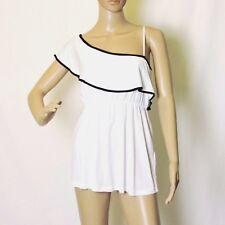 Damen One-Shoulder Stretch Shirt Top Bluse schwarz weiß 36 / 38 verstellb Träger