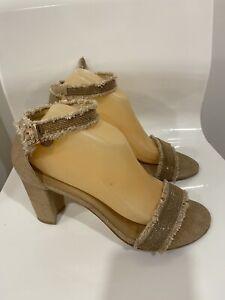 $465 ~ Stuart Weitzman Chaingang Frayed Ankle Strap Sandal with Heels Sz 9