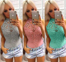 Women Sleeveless Bodysuit Leotard Top Blouse Romper Jumpsuit Playsuit Clubwear