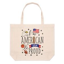 I'M Américain et Proud Grand Plage Sac Fourre-Tout - Drapeau États-unis Amérique