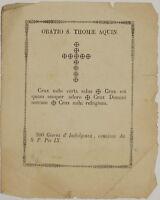 ORATIO S. THOMAE AQUIN. ORAZIONE SAN TOMMASO D'AQUINO INDULGENZA 1860 THOMAS