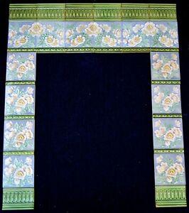GERMANY ANTIQUE ART NOUVEAU 34 ORIGINAL TILES FOR FIREPLACE c1900