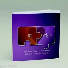 Lot de 10 Faire-parts puzzle avec enveloppe Baptême Mariage Communion