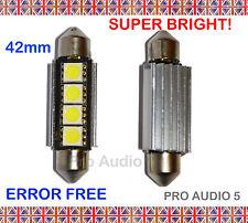 2x 42mm Canbus Bianche 4 SMD LED Lampadine-Errore Libero Numero Targa O Interni Nuovi
