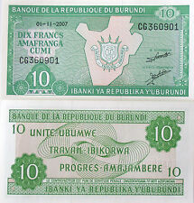 Burundi Africa Unc 2007 10 Francs Foreign Banknote World Paper Money Currency