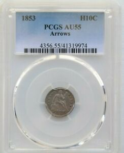 1853 H10C, Arrows Seated Liberty Half Dime, PCGS AU55 Graded