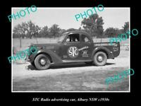 OLD POSTCARD SIZE PHOTO OF THE STC RADIO ADVERTISING CAR c1930s