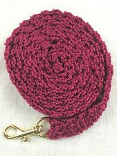 "DOG LEASH 616  MAROON crochet cord  6 foot with metal swivel bolt snap 3/4"" wide"