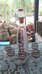 Vintage set Sugar Frosted Purple & Gold Genie Bottle Decanter & 5 Glasses