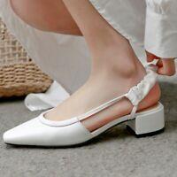 Women's Leather Slingbacks Sandals Block Heels Square Toe Pumps Casual Shoes