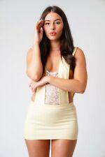 Beige Micro Mini Dress Women's Short Party Club  Front Lace Dresses 531