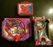 "Marvel Spider-Man 5"" inch Talking Bobble Head, 2007 Comic Tin & Mini Basket Hoop"
