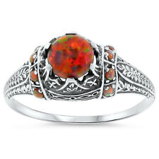 ORANGE LAB FIRE OPAL ANTIQUE VICTORIAN STYLE 925 STERLING SILVER RING Sz 10,#102