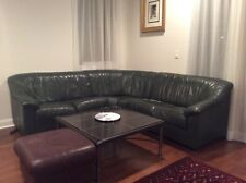 Leather Sectional Sofa, Green, Used