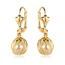 Sevil 18K Gold Plated Simulated Pearl In Cage Dangling Drop Earrings