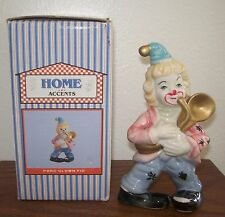 Home Accents Porcelain Clown Figurine with Saxophone New/Old Stock Boxed
