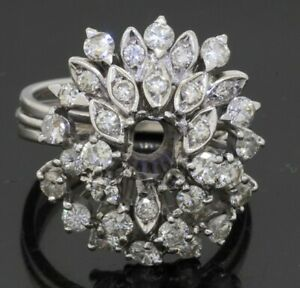 18K white gold 2.40CTW diamond cluster flower ring semi-mounting size 6.5