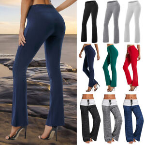 Women Foldover Yoga Pants Cotton Fitness Workout Comfy Trousers Wide Boot Leg