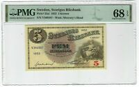 Sweden 5 Kronor Banknote 1952 Pick#33ai PMG Superb GEM UNC 68 EPQ - TOP POP!