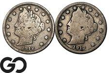 1912, 1912-D Liberty Nickel, V Nickel