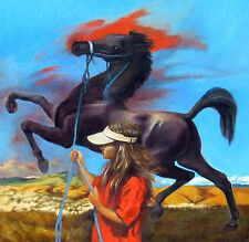 "JACKSON HENSLEY Artist's Daughter & Arabian Horse 48""x49"" oil-COMPS to $16,380"