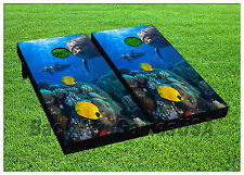 VINYL WRAPS Cornhole Boards DECALS Coral Reef Bag Toss Game Stickers 789