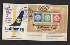 Uruguay 1972 Lufthansa Flight cover, Montevideo-Germany, Olympic M/S, Black cach