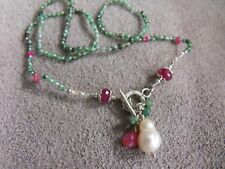PEARL knotted SILK EMERALD RUBY SAPPHIRE NECKLACE toggle clasp sterling silver