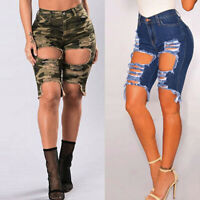 Women Sexy Hole Leggings Destroyed Pants Elastic Denim Ripped Short Jeans Pants