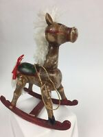 "Vintage Wooden Rocking Horse Christmas Ornament Hand Painted 5"" Brown Red White"