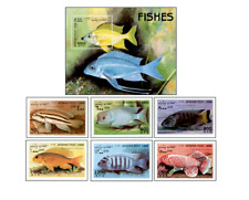 AFG9806 Fish exotic block and 6 stamps