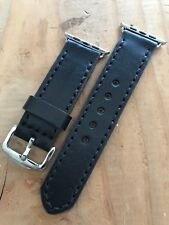 42mm Apple Watch Band Black English Bridle Stainless Adapters Buckle