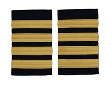 Pilot Captain,Gold Strips Epaulettes,Pilot Airline,Merchant Marine 4 Bars R103
