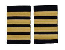 Pilot Captain Gold Strips Epaulettes Pilot Airline Merchant Marine 4 Bars R103