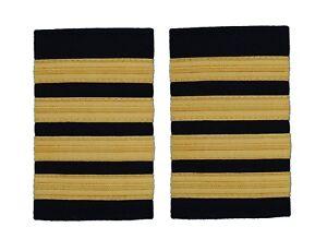 Pilot Captain,Gold Strips Epaulettes,Pilot Airline,Merchant Marine 4 Bars R103