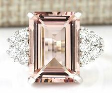 925 Silver Morganite Gemstone Fashion Women Ring Engagement Wedding Jewelry 6-10