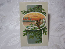 A HAPPY NEW YEAR ANTIQUE EMBOSSED POSTCARD WITH BIRDS   T*
